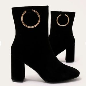 Shoes - Metal Ring Ankle Suede Boots